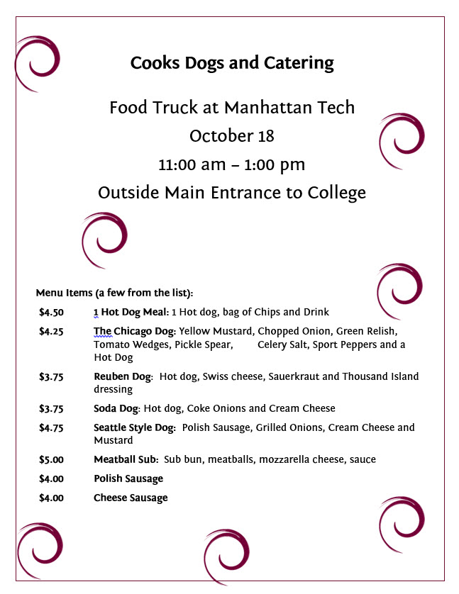 Come visit the Cooks Dog and Catering food truck on October 18, 2017 from 11:00 am - 1:00 pm outside the main entrance