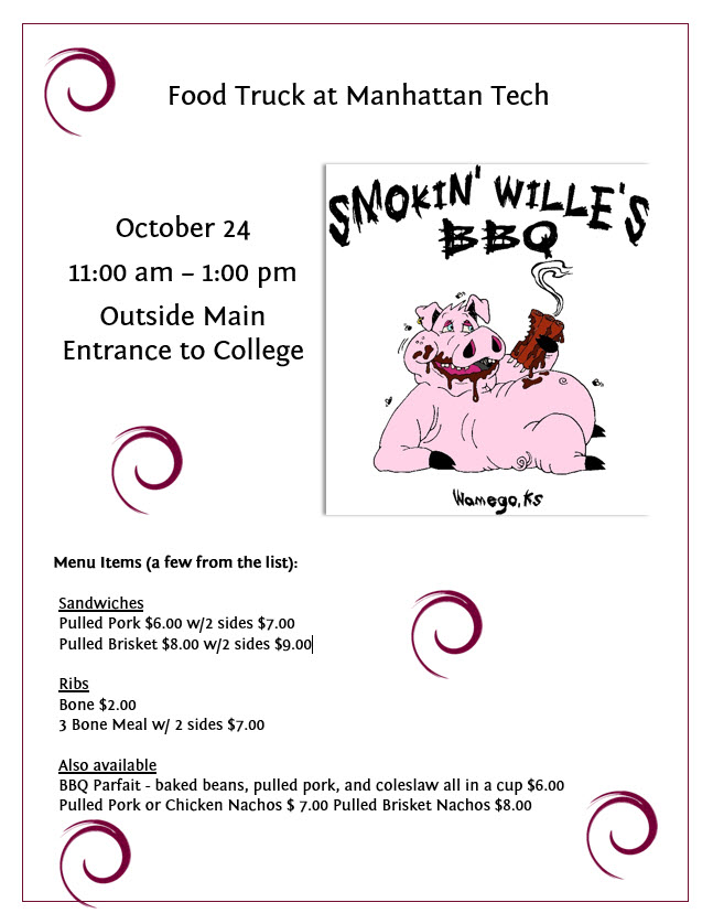Come visit Smokin' Willies BBQ food truck on October 24, 2017 from 11:00 am - 1:00 pm outside the main entrance