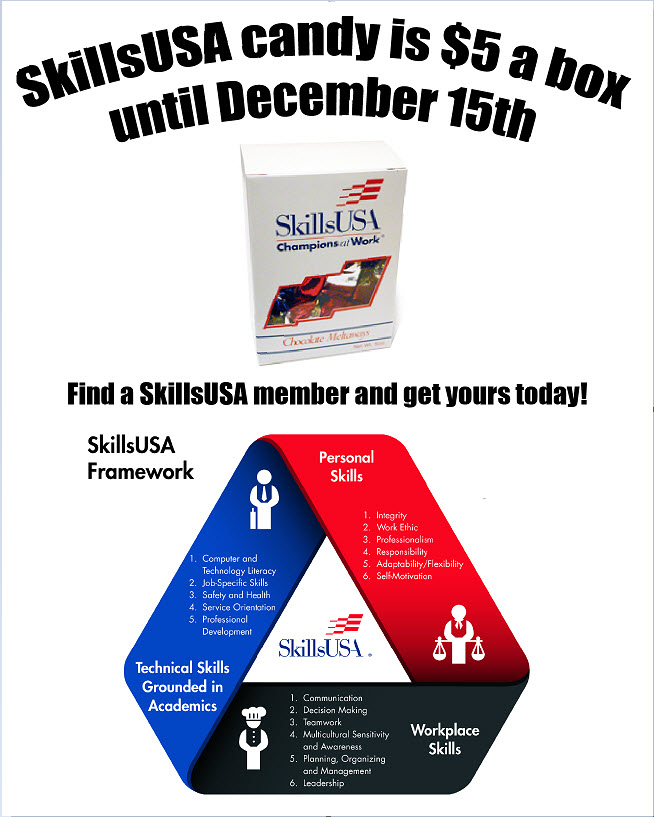 SkillsUSA members are selling candy for $5 per box.  Contact them to get your candy today through December 15, 2017