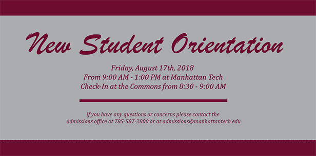 Join us on Friday, August 17th from 9:00 am - 1:00 pm at Manhattan Tech.  Check in at the Commons fro 8:30 - 9:00 am.